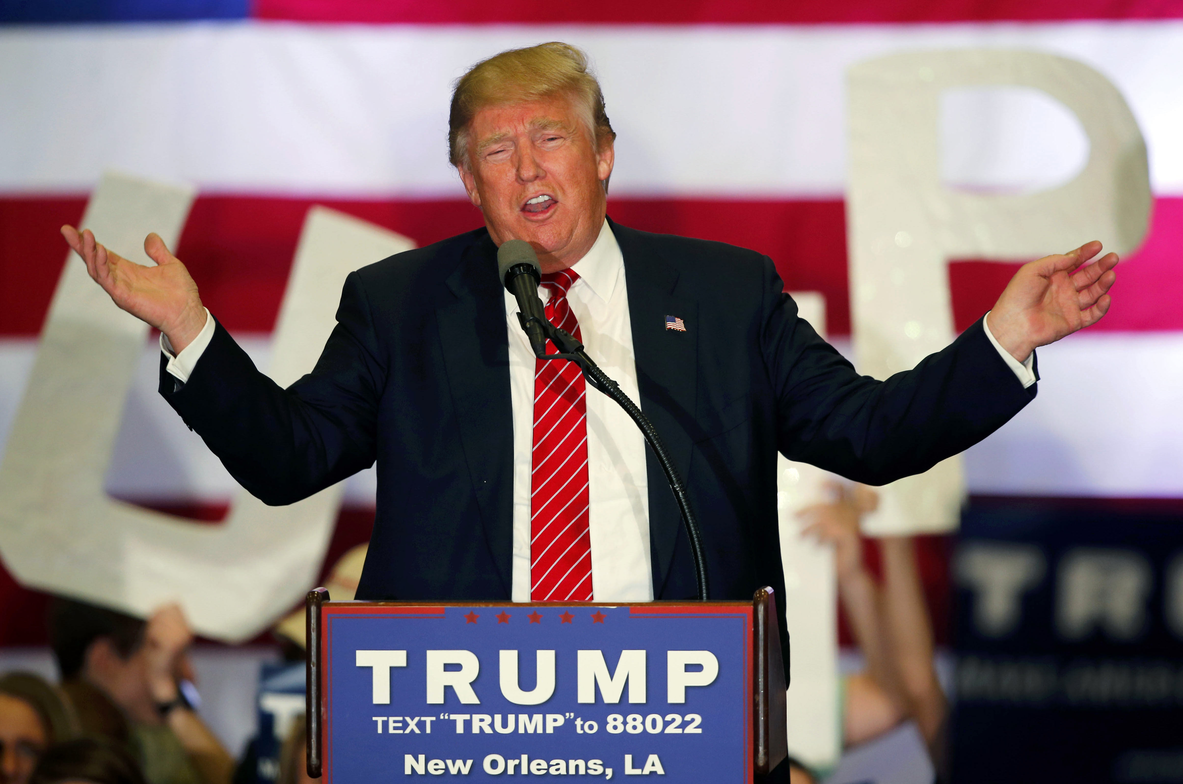 Republican presidential candidate Donald Trump speaks at a campaign rally in New Orleans, Friday, March 4, 2016. (AP Photo/Gerald Herbert)